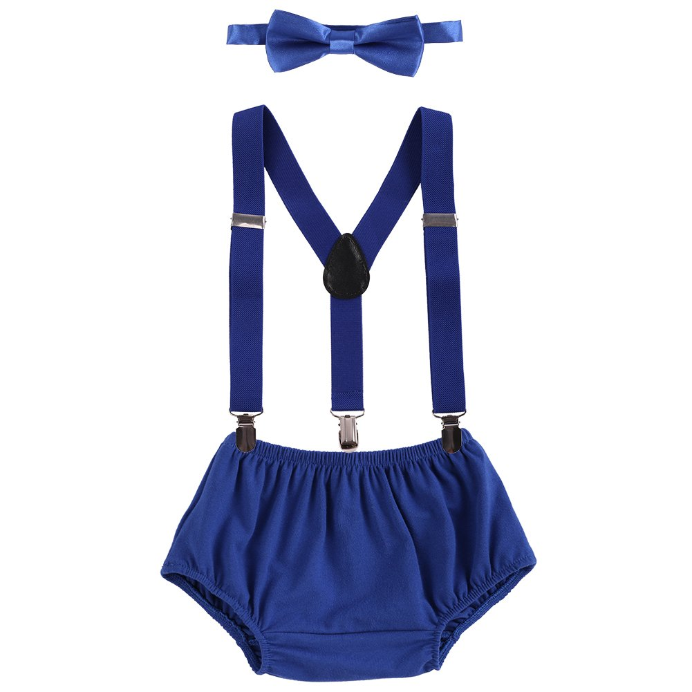 Baby Boys Cake Smash Outfit First Birthday Bloomers Bowtie Suspenders Clothes set Royal Blue One Size