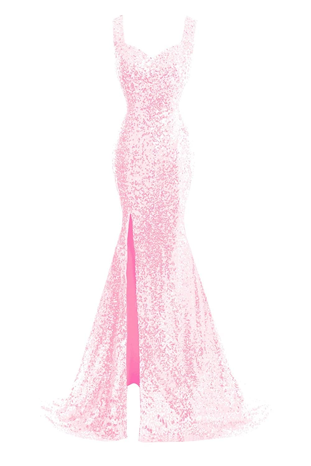 blueshing Pink Bess Bridal Women's Sequined Mermaid Split Sheer Back Long Prom Evening Dress