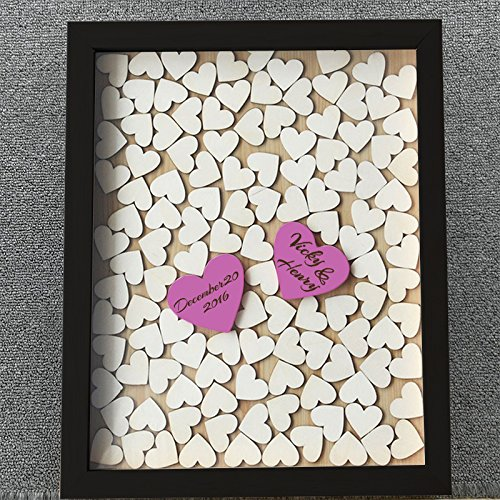 Susie85Electra Black Wood Frame Wedding Guest Book with Heart,Wedding Guest Book Alternative Heart Drop Box,Personalized Keepsake Wooden Wedding Guestbook 30x35cm