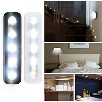 Sensor de movimiento luz, mini inalámbrico lámpara de pared 5 LED funciona con pilas blanco gabinetes de la cocina armario lámpara para el hogar Tamaño ...