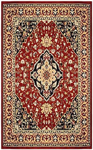Blue Nile Mills Glendale Collection Area Rug – Traditional Brown Oriental Rug, 8 mm Pile, Jute Backing Floor Rug, Red, 8 x 10