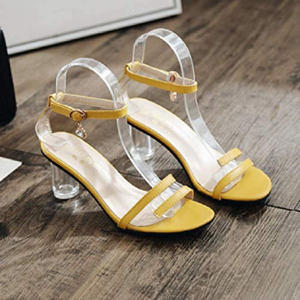 Clear Crystal Heeled Sandals for Women Open Toe Ankle Buckle Party Dress Pumps Shoes Stylish Elegant Slides