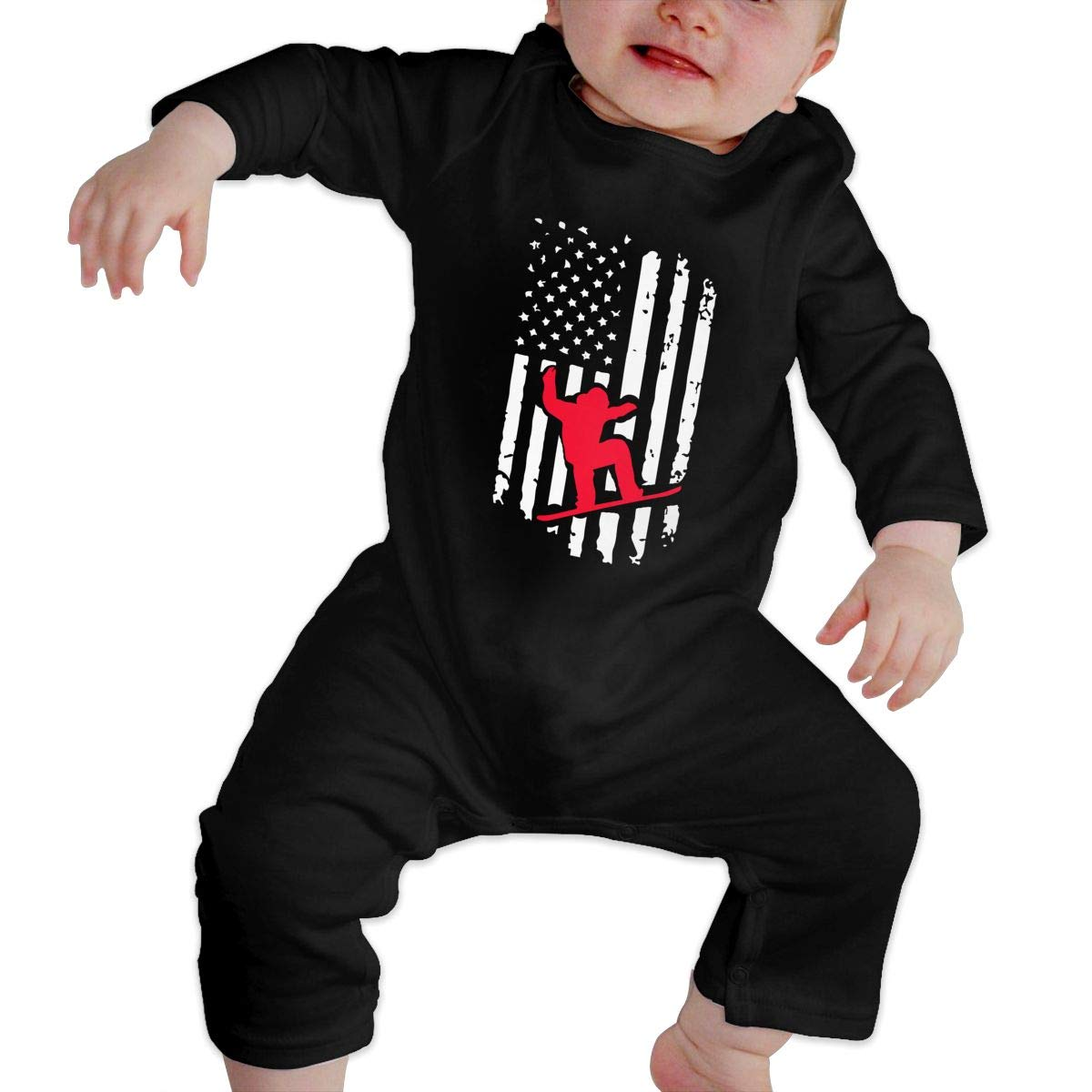 A1BY-5US Infant Babys Cotton Long Sleeve Snowboard-Riding American Flag Climb Romper Funny Printed Romper Clothes