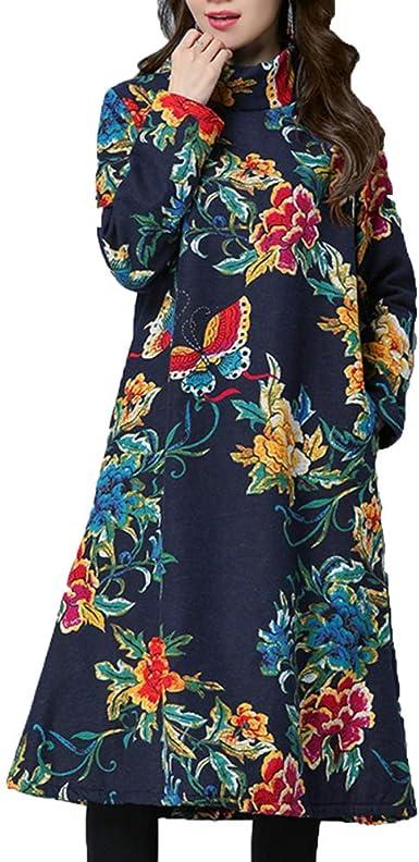 Vestido De Mujer Vestido Retro Largo Y Largo Maxi Vestido Suelto Cuello Alto Manga Larga Algodón Sjirt: Amazon.es: Ropa y accesorios
