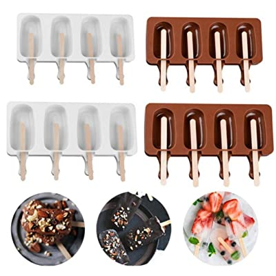 Sweetstore Household 4 Cavities Reusable Ice Cream Mold Makers with 10 Popsicle Silicone Thick Material DIY Molds Ice Cube Moulds Dessert Molds Tray (Brown L): Toys & Games