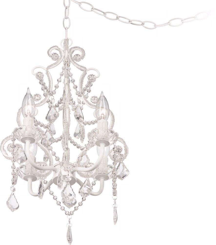 Leila 11 wide white finish beaded plug in swag chandelier leila 11 wide white finish beaded plug in swag chandelier amazon arubaitofo Gallery