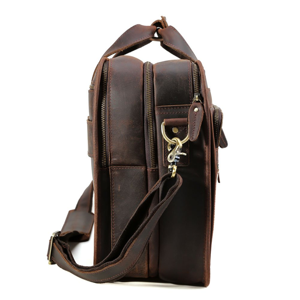 """Tiding Cowhide Leather Vintage Laptop Bag – Durable, Spacious, Stylish Carry On Business Bag – Fits 17.3"""" Laptop – Perfect for The Busy Businessman by Tiding (Image #7)"""