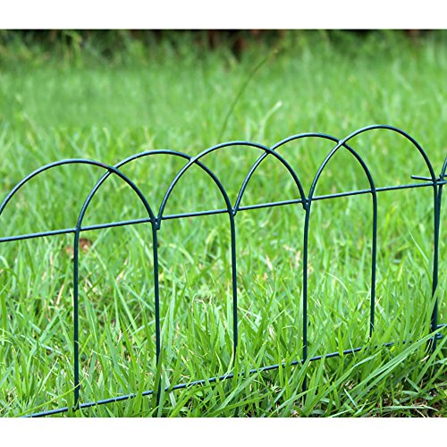 "V Proteck Decoration Fence 4pack 15.4"" Width x 9.8""Height Dark Green Iron Fence, Outdoor Landscape Fence, Garden Borders -  Mr.Garden, GEF915P4DG"