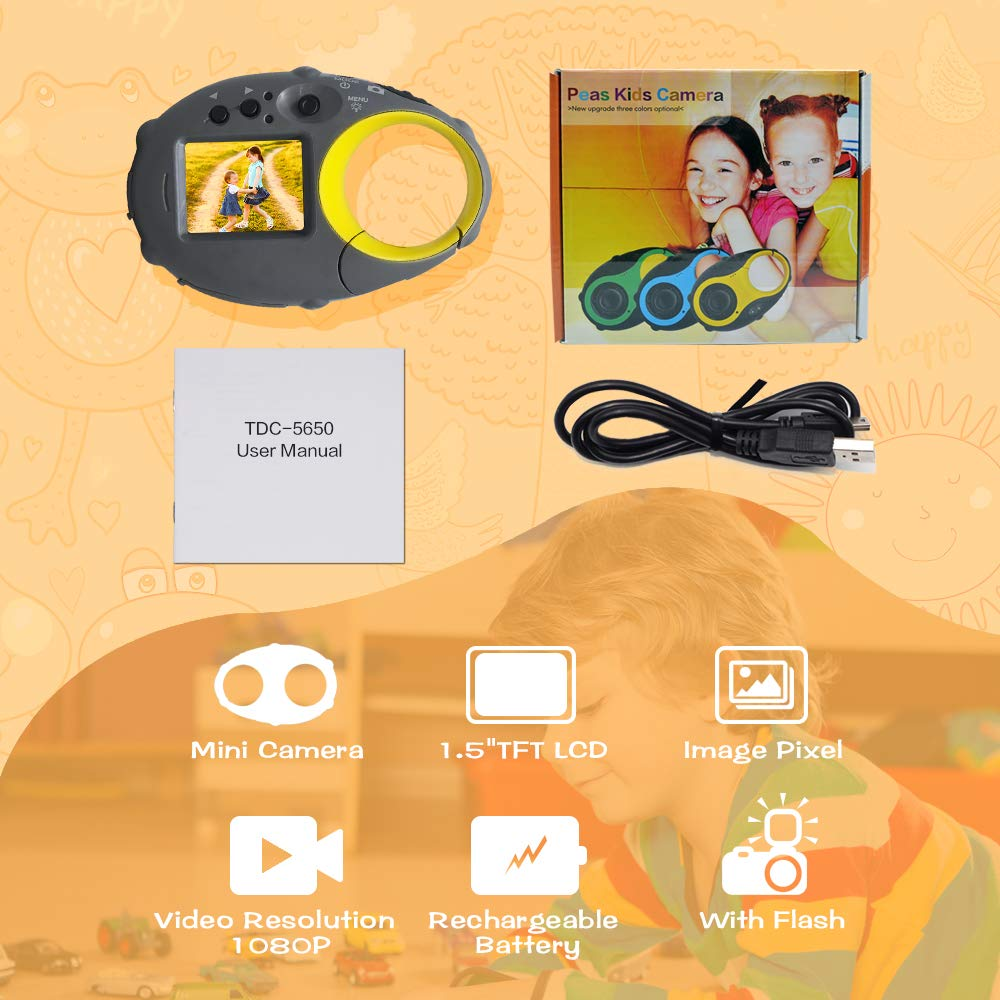 ISHARE Kids Camera Cute Camera 12MP 4× Digital Zoom Digital Camera with Video, Mini Kids Camera with Photo Frame for Girls and Boys, (Yellow) by ISHARE (Image #7)