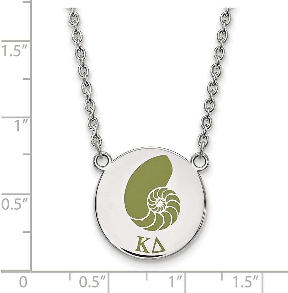Greek Sororities Sterling Silver LogoArt Kappa Delta Large Enl Pend with Necklace Size One Size