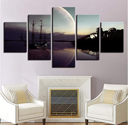 Canvas painting landscape ship abstract wall art poster and prints picture decor