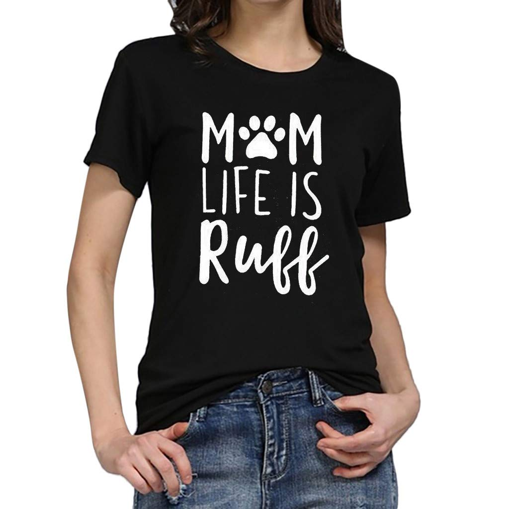Psunrise Arriba Women Girls Summer Fashion Casual Print O Neck Short Sleeve Tee Shirt Blouse Tops Plus Size(L, Black)