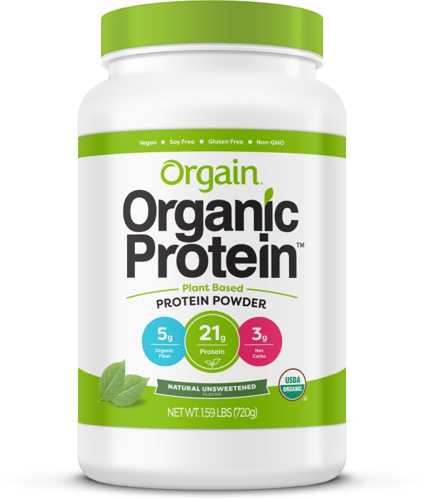 Orgain Organic Plant Based Protein Powder, Natural Unsweetened, Vegan, Non-GMO, Gluten Free, 1.59 Pound, 1 Count, Packaging May Vary