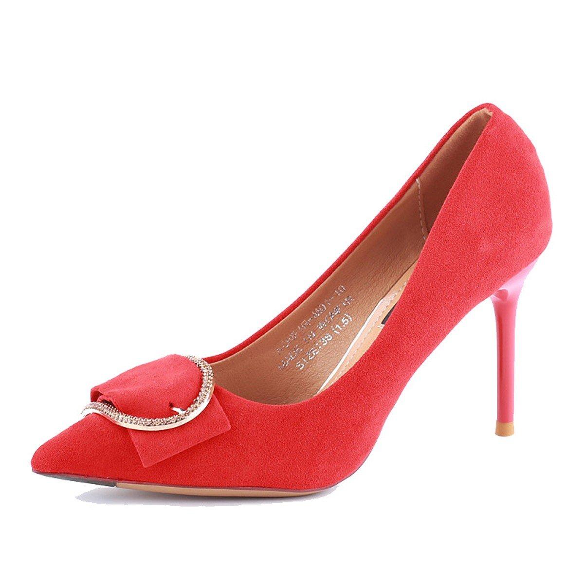 KPHY Zapatos de Mujer/Otoño Puntiagudas 9 Cm Zapatos De Tacon Alto Delgado Y Superficial De Boca Solo Maquina Perforadora Sexy Corbata .Treinta Y Seis De Gules Thirty-six|gules