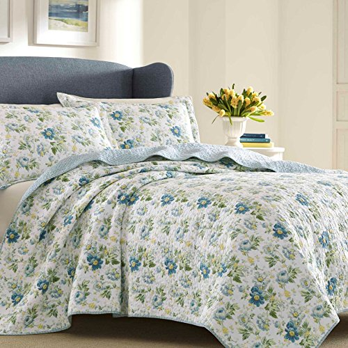 Laura Ashley Peony Garden Quilt Set Full Queen Robins Egg Your 1 Source For Home Kitchen