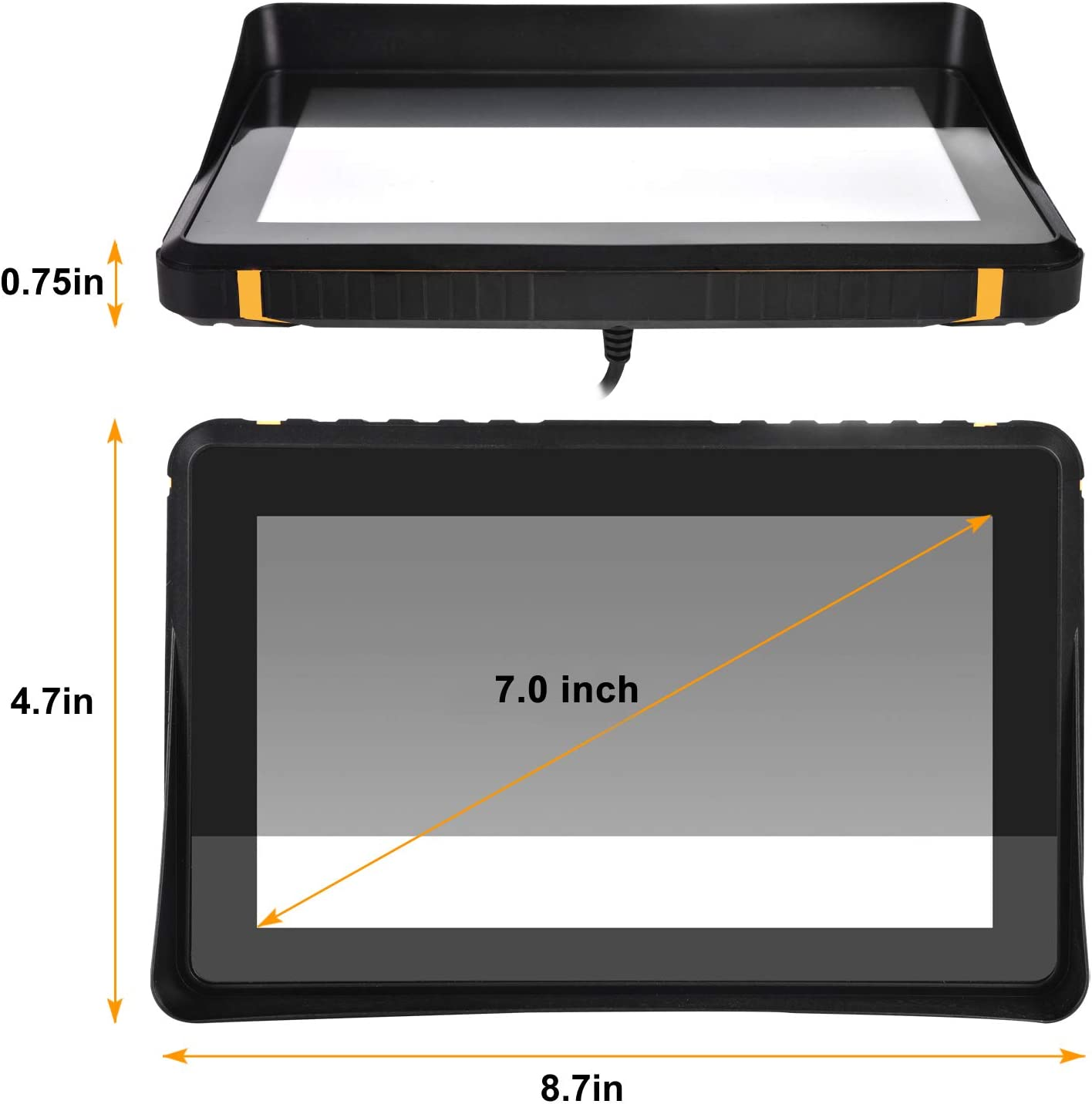 Waterproof GPS Navigation for Motorcycle Cars 7 Inch Speeding Warning Voice Navigation Touch Screen Ultra Bright Rain-Resistant Display