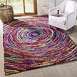 Cheap Safavieh Nantucket Collection NAN315A Handmade Abstract Multicolored Cotton Area Rug (6′ x 9′)