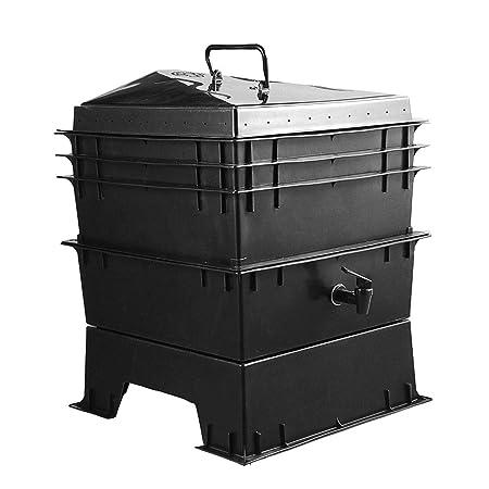 QWERTOUY 80L PP residuos de Cocina Compost de lombriz Caja ...