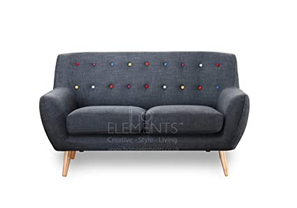 Quick Delivery In Stock Grey Fabric 2 Seater Sofa Scandinavian