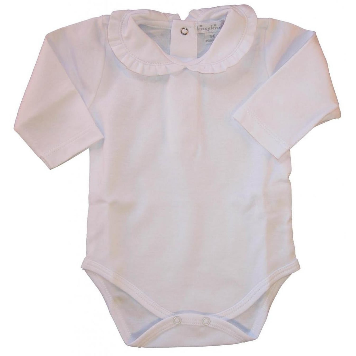 Kissy Kissy Baby Basic Long Sleeve Collared Bodysuit With Ruffle Collar 346-930-WHWH