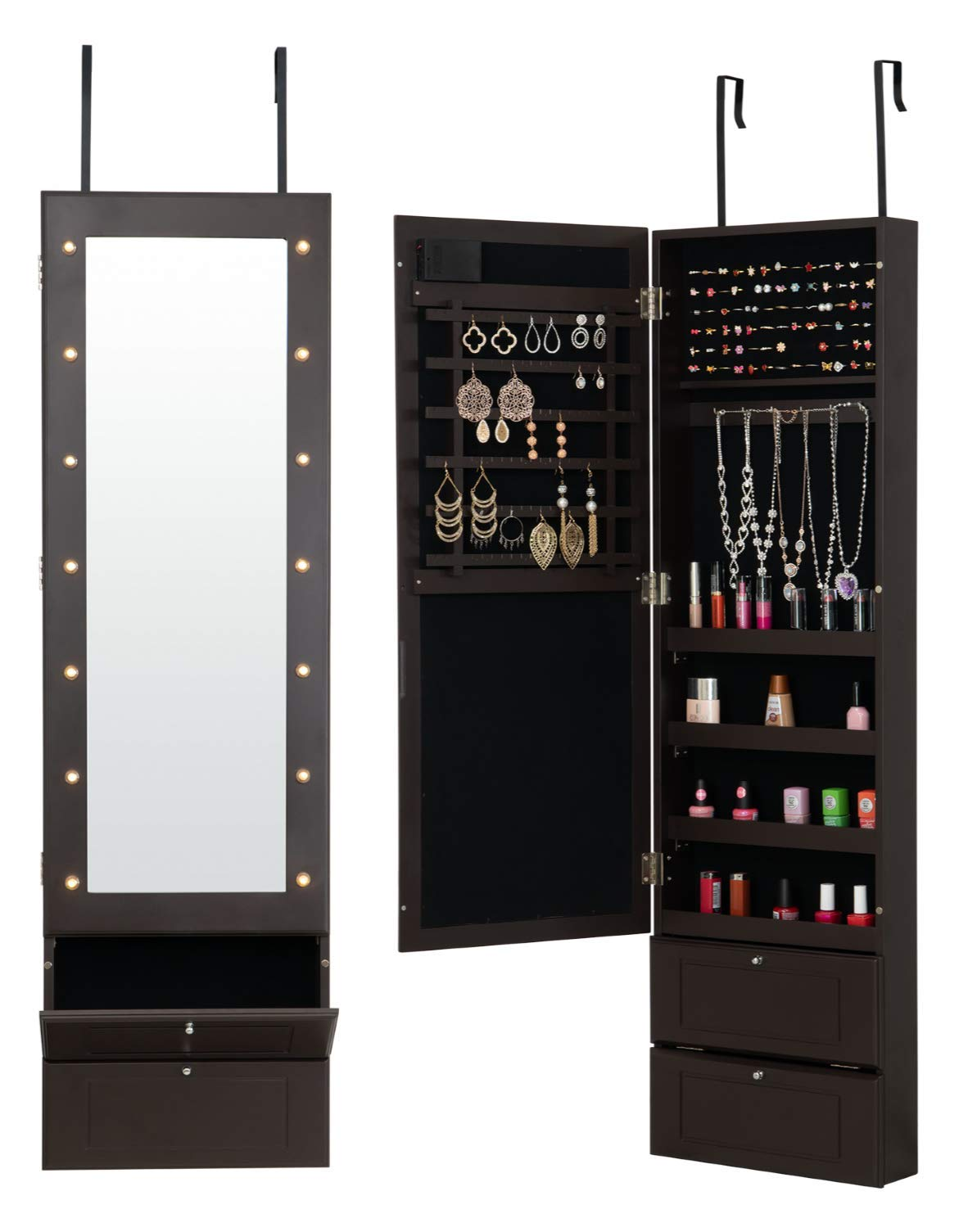 Fineboard FB-JC05-BN LED Lights Jewelry Cabinet Organizer with Mirror and Two Shelves, Brown by Fineboard