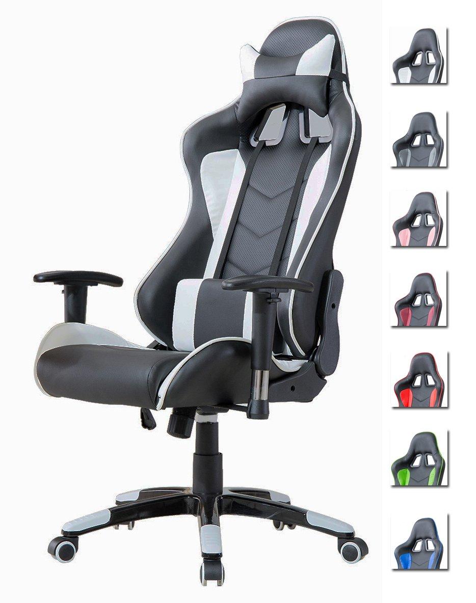 Drehstuhl weiß schwarz  Delman Bürostuhl Racing Bürostuhl Schreibtischstuhl Gaming Chair ...