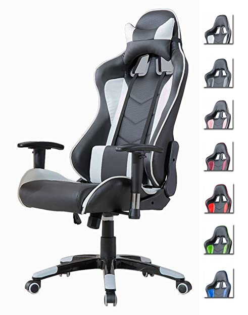 Schreibtischstuhl schwarz weiß  Delman Bürostuhl Racing Bürostuhl Schreibtischstuhl Gaming Chair ...