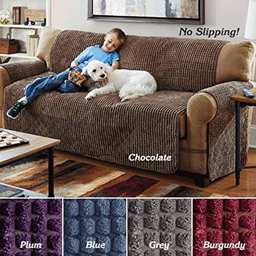 ULTIMATE FURNITURE PROTECTOR, PUFF CHENILLE SLIP COVER (LOVESEAT) BURGUNDY (Chenille Fabric Loveseat)