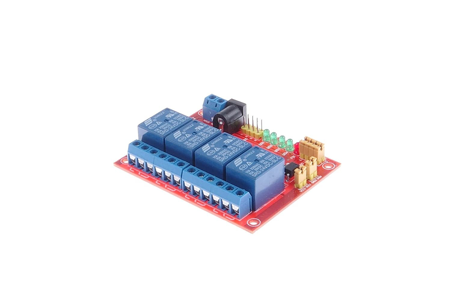 Knacro Dc 24v 4 Channel Relay Module Optocoupler Dc5v To Dc30v Converter By 74hc14 Isolation High Low Level Trigger Optional For Scm Expansion Board Ttl Plc Control Home Audio