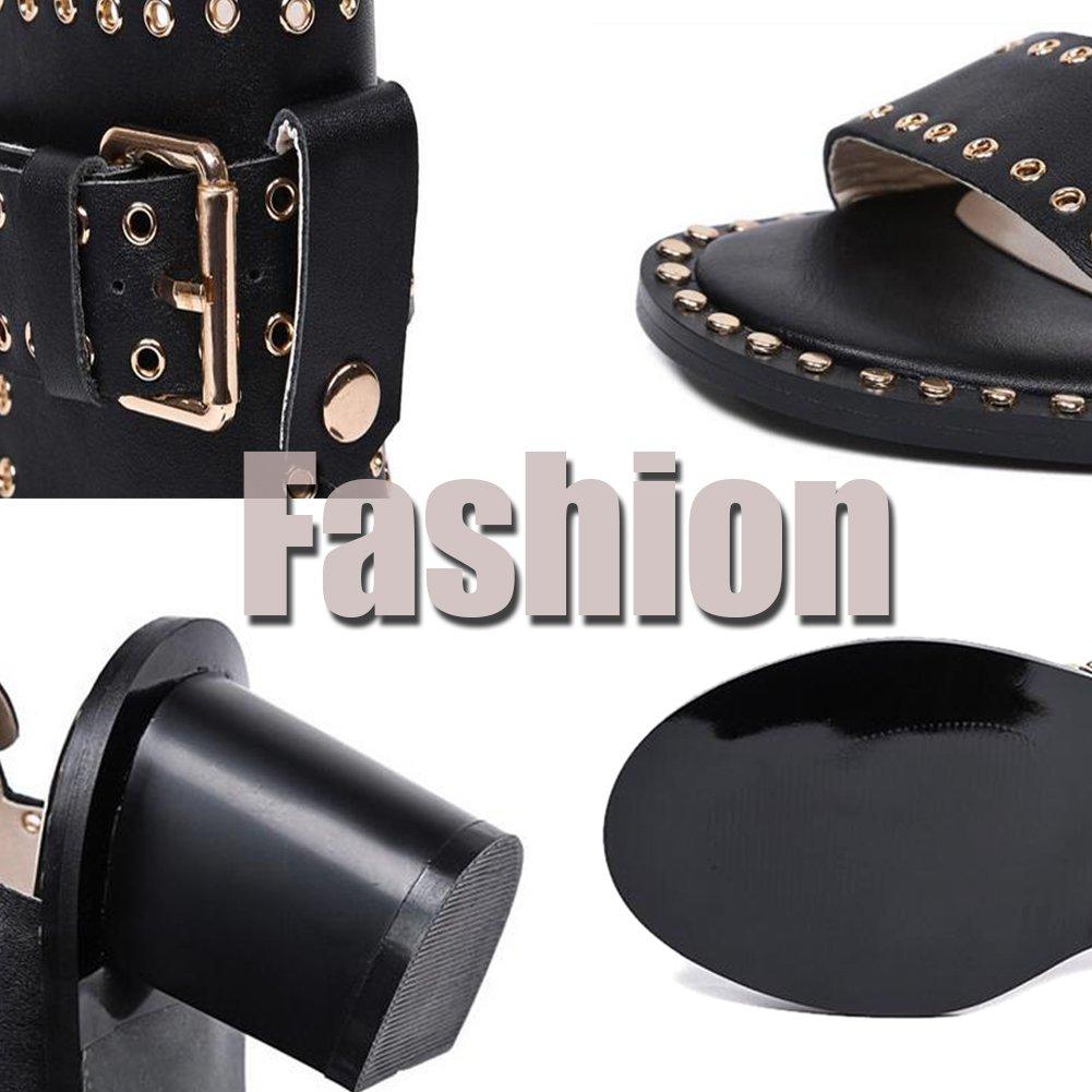 Roma Sandales Womens Dermis Summer Fashion Punk Rivets Cheville Sangle Fish Mouth Heels,Black,38