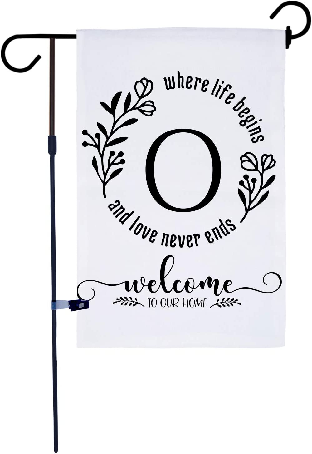 AKPOWER Small Garden Flag Vertical Double Sided 12 x 18 Inch Farmhouse Burlap Yard Outdoor Decor Classic Monogram Letter O