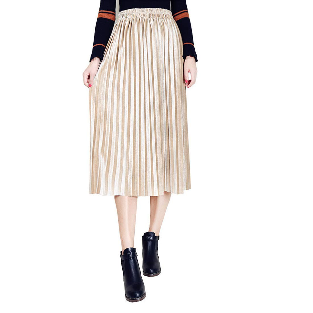 3ff093d985 Belgius Women Pleated Velvet Skirt Metallic Shiny A-line High Waist Midi  Skirt: Amazon.ca: Clothing & Accessories