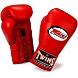 Twins Special Muay Thai Boxing Gloves Lace Closure BGLL-1 Color Red Size 8, 10, 12, 14, 16 oz for Muay Thai, Boxing, Kickboxing, MMA