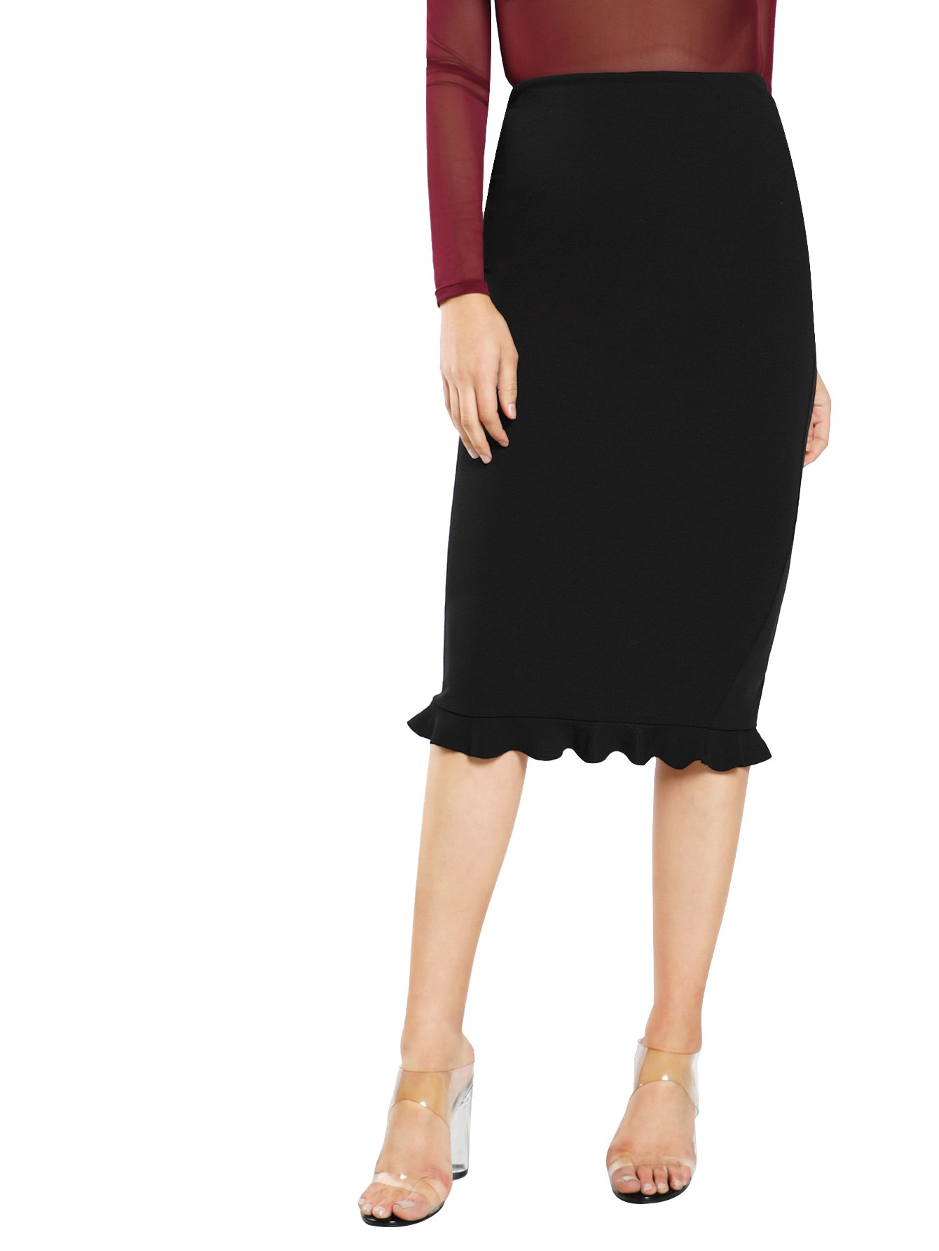 MakeMeChic Women's Polka Dot Ruffle Fishtail Wear To Work Midi Pencil Skirt Black-1 L