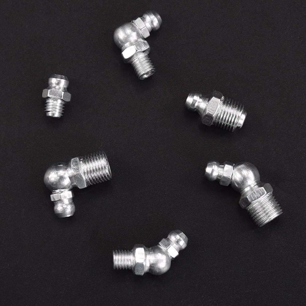 Straight 90-Degree Standard Steel 102PCS Hydraulic Grease Fittings Assortment Kit 45-Degree Angled Zerk Assortment Set