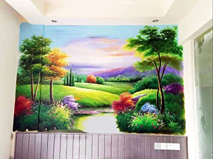 Amazon Com Spring Landscape Wall Mural Custom Design Hand Painted