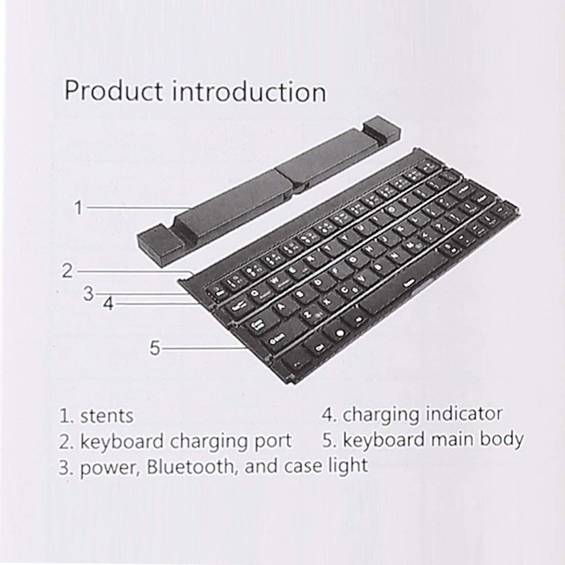 Wireless Mouse Keyboard Standard Layout Keyboard GK808 Ultra-Thin Foldable Bluetooth V3.0 Keyboard Color : Rose Gold New Bluetooth Black Built-in Holder Support Android//iOS//Windows System