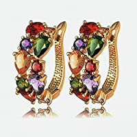 Fashion Women Colorful Crystal Rhinestone Hoop Huggies Ear Stud Earrings Gift ERAWAN sakcharn