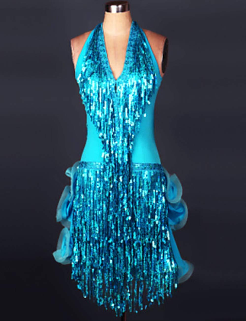 正規品販売! ラテンダンスドレス & & スカート女性のトレーニングパフォーマンススパンデックススパンコールシャーリングタッセルノースリーブドレスサンバ B07PCQ3YSZ B07PCQ3YSZ XL|Blue XL|Blue Blue XL, スントウグン:0bda4771 --- a0267596.xsph.ru