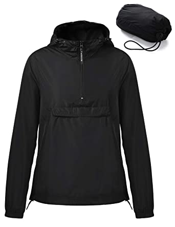 2e3c181aaf19 Amazon.com  ANGGREK Ladies Hooded Running Jacket Windbreaker Solid Front  Pocket Pullover Black L  Clothing