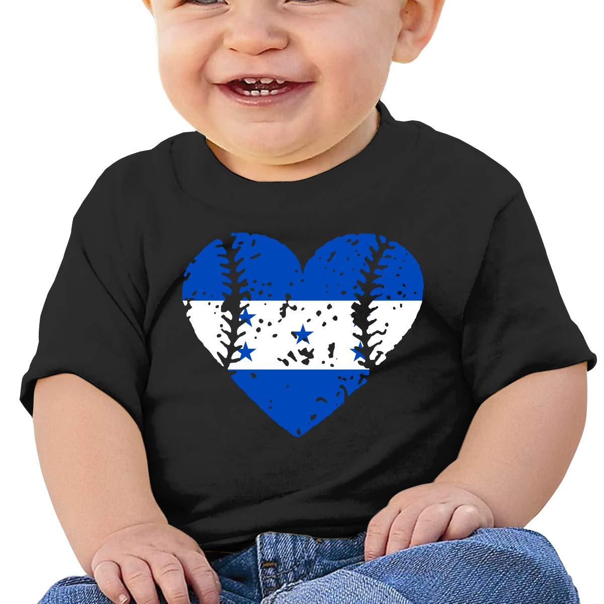 ZUGFGF-S3 Baseball Heart Honduras Flag Newborn Baby Newborn Short Sleeve T-Shirt 6-24 Month Cotton Tops