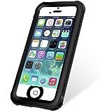 KYOKA iPhone SE 5 5s 防水ケース 指紋認証対応 防水 耐震 防塵 耐衝撃 IP68 アイフォン SE 5 5s 防水カバー (ブラック)
