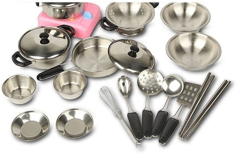 MAGIKON Miniature Toy 17-Piece Stainless Steel Pots and Pans Set Pretend Play Kitchen Cooking Utensils Toy