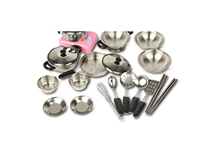 Amazon Com Miniature Toy 17 Piece Stainless Steel Pots And Pans Set