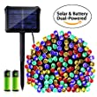 Icicle Dual Power Christmas Lights, 72 Ft 8 Modes 200 LED Waterproof Battery & Solar Christmas String Lights for Indoor/Outdoor, Garden, Patio, Fence and Holiday Decorations(Multi Color)