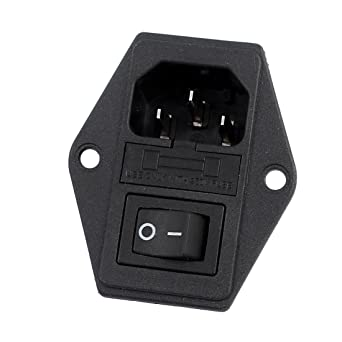 61laIRAEpaL._SX342_ uxcell 10a 250vac rocker switch 3 terminals iec320 c14 inlet male iec 320 c14 wiring diagram at aneh.co