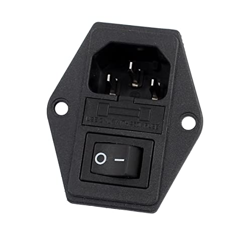 uxcell 10a 250vac rocker switch 3 terminals iec320 c14 inlet male rh amazon com