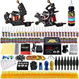 Solong Tattoo Complete Starter Beginner Tattoo Kit 2 Pro Machine Guns 54 Inks Power Supply Foot Pedal Needles Grips Tips TK211