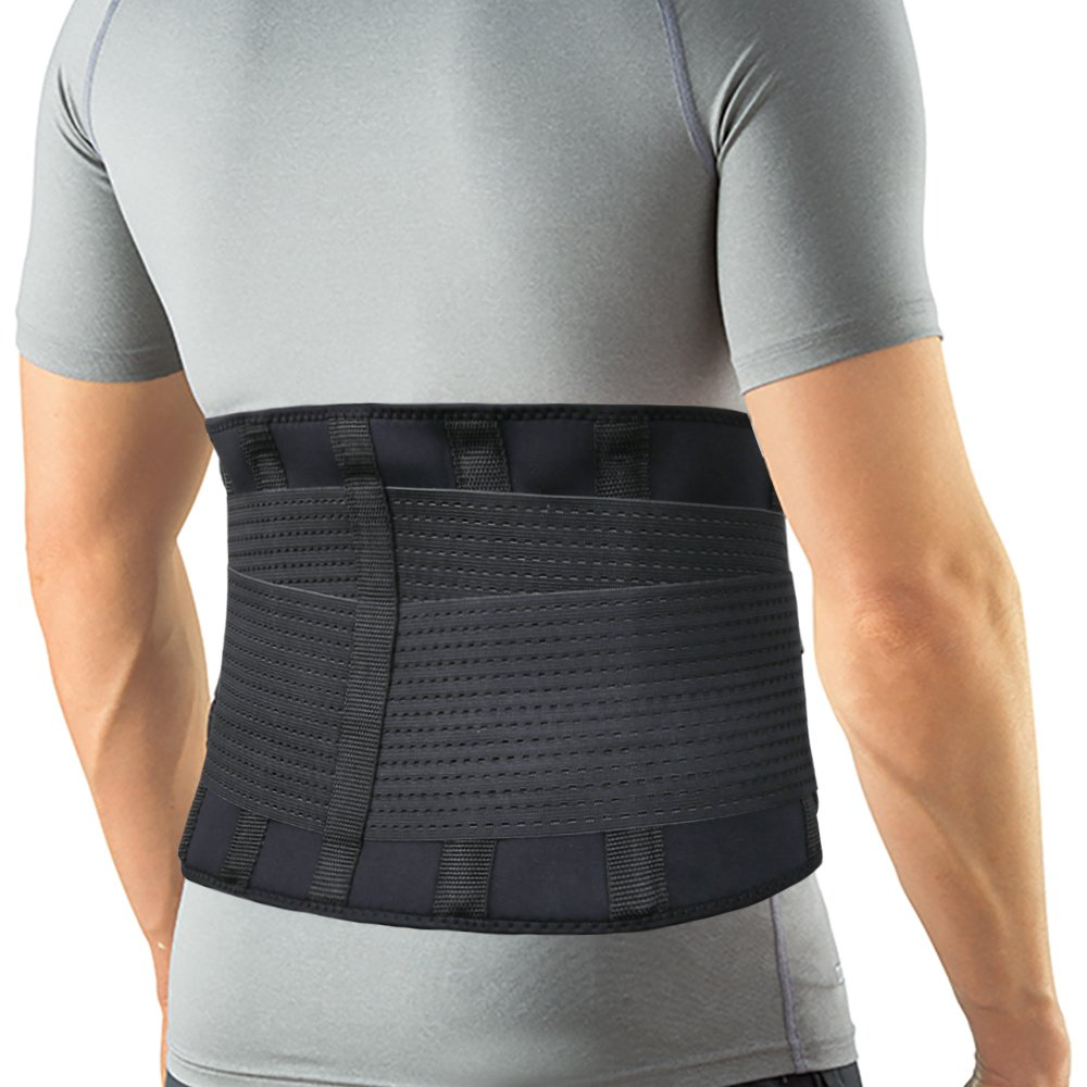 Back Brace Lumbar Support Belt with Dual Adjustable Straps for Lower Back Pain Relief & Treatment of Sciatica, Scoliosis, Herniated Disc or Degenerative Disc Disease by Featol