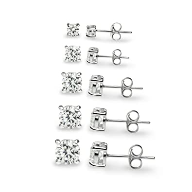 "93459202e River Island Jewelry –""5 Pairs"" Sterling Silver Square CZ Stone Cubic  Zirconia Stud Earrings 3mm, 4mm, 5mm, 6mm"